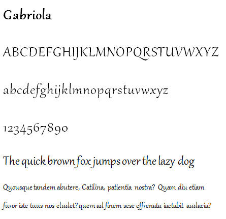 871 Gabriola font sample - 21 new typefaces in Windows 7