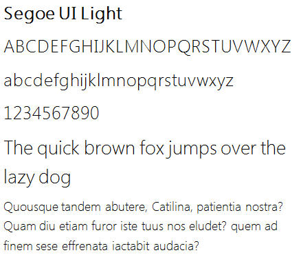 871 Segoe Light sample - 21 new typefaces in Windows 7