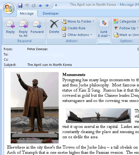 Outlook - email with embedded images.jpg image from How to copy a picture from an Outlook email at Office-Watch.com