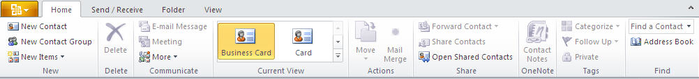 884 Outlook 2010   Contacts   View - Outlook 2010 gets the ribbon interface