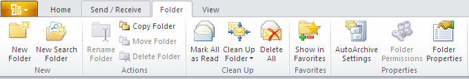 884 Outlook 2010   Mail   Folder - Outlook 2010 gets the ribbon interface