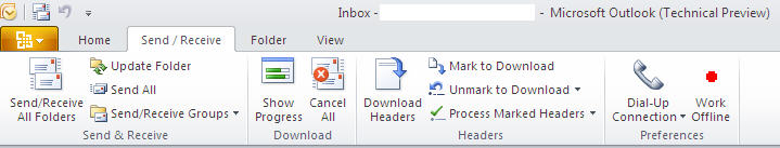 884 Outlook 2010   Mail   Send   Receive - Outlook 2010 gets the ribbon interface