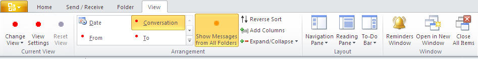 884 Outlook 2010   Mail   View - Outlook 2010 gets the ribbon interface
