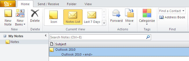 884 Outlook 2010   Notes   Home - Outlook 2010 gets the ribbon interface