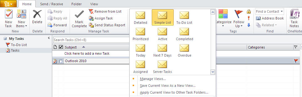 884 Outlook 2010   Tasks   Home - Outlook 2010 gets the ribbon interface
