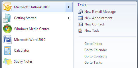 Outlook 2010 - extended options on Windows 7 start menu.jpg image from Outlook 2010 inside Windows 7 at Office-Watch.com