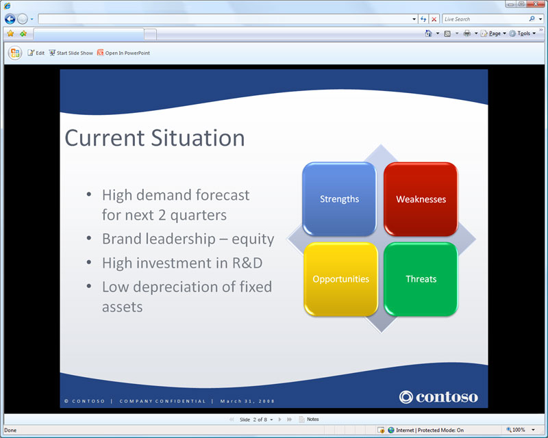 894 PowerPoint web application viewing a presentation online - Office 2010 - web apps preview
