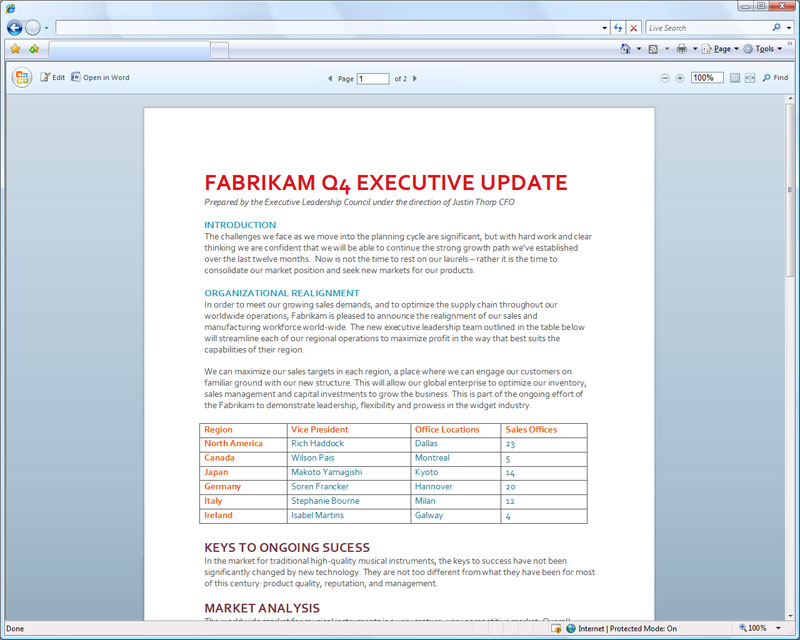 894 Word web application viewing a document online - Office 2010 - web apps preview