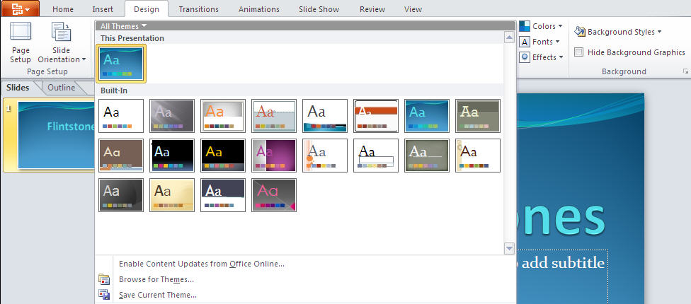 PowerPoint 2010 TP - Design tab.jpg image from PowerPoint 2010 - first look at Office-Watch.com