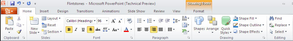 PowerPoint 2010 TP - Home tab.jpg image from PowerPoint 2010 - first look at Office-Watch.com