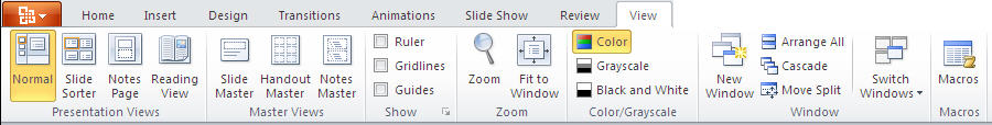 PowerPoint 2010 TP - View tab.jpg image from PowerPoint 2010 - first look at Office-Watch.com