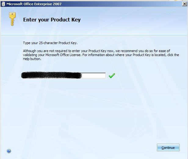 Office 2007 product key entry image from The Real Office 2007 installation guide, part 2 at Office-Watch.com