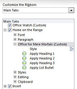 Office 2010 - Customize Ribbon - new grouo on Home tab.jpg image from Ribbon customization in Office 2010 at Office-Watch.com