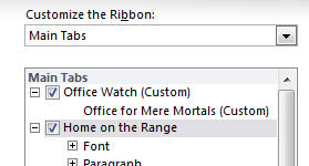 Office 2010 - Customize Ribbon - new tab and renaming.jpg image from Ribbon customization in Office 2010 at Office-Watch.com