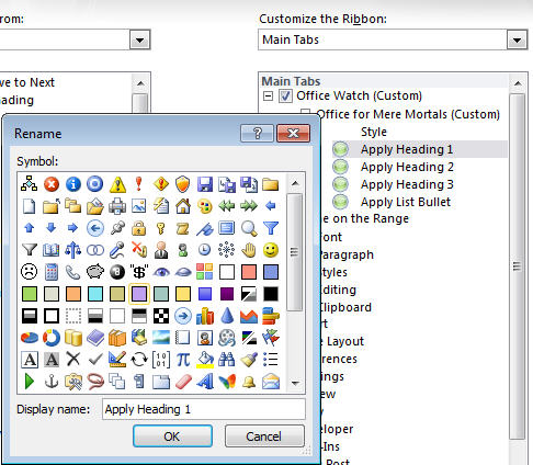 Office 2010 - Customize Ribbon - rename command also changes icon.jpg image from Ribbon customization in Office 2010 at Office-Watch.com