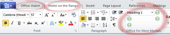 Office 2010 - Word ribbon with changes.jpg image from Ribbon customization in Office 2010 at Office-Watch.com