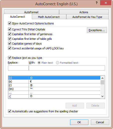 Autocorrect settings image from Quickly adding special characters at Office-Watch.com