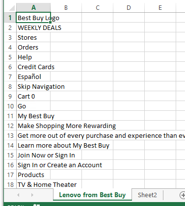 Best%20Buy%20scrape%202 - Import Best Buy prices into Excel