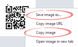 Chrome - save image options image from QR Codes in Word at Office-Watch.com