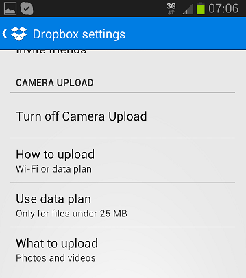 Dropbox Camera Upload settings for Android image from Dropbox Camera Upload at Office-Watch.com