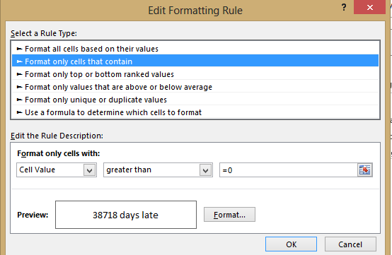 Excel - conditional formatting edit rule image from Clever solution for Singular/Plural in Excel at Office-Watch.com