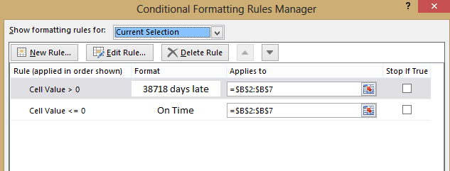 Excel Conditonal Formatting rules manager image from Clever solution for Singular/Plural in Excel at Office-Watch.com
