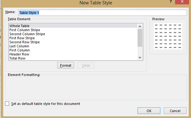 Table style dialog image from Styles in Excel at Office-Watch.com