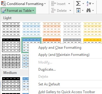 Excel table style menu image from Styles in Excel at Office-Watch.com