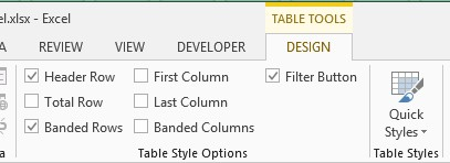 Excel Table style options image from Styles in Excel at Office-Watch.com