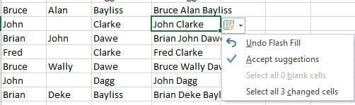 Flash Fill with middle names image from Excel 2013 Flash Fill at Office-Watch.com