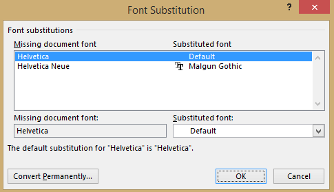 http://img.office-watch.com/ow/Font%20substitution%203.png image from Windows substituting Arial font for Helvetica at Office-Watch.com