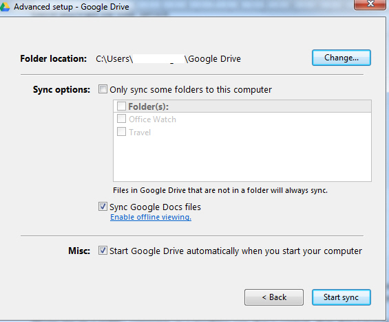 Google Drive - advanced options image from Getting Started with Google Drive at Office-Watch.com
