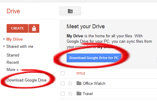 Google Drive - download software image from Getting Started with Google Drive at Office-Watch.com