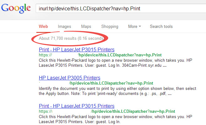 Google inurl search example image from HP Printers exposed! at Office-Watch.com