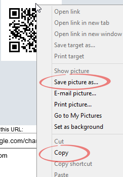Internet Explorer - save image options image from QR Codes in Word at Office-Watch.com
