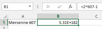 Mersenne 607 in Excel image from New Prime Number is too big for Excel at Office-Watch.com