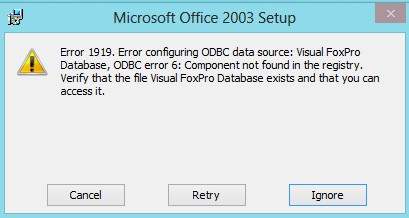 Office 2003 error in Windows 8 image from Office compatibility with Windows 8 at Office-Watch.com