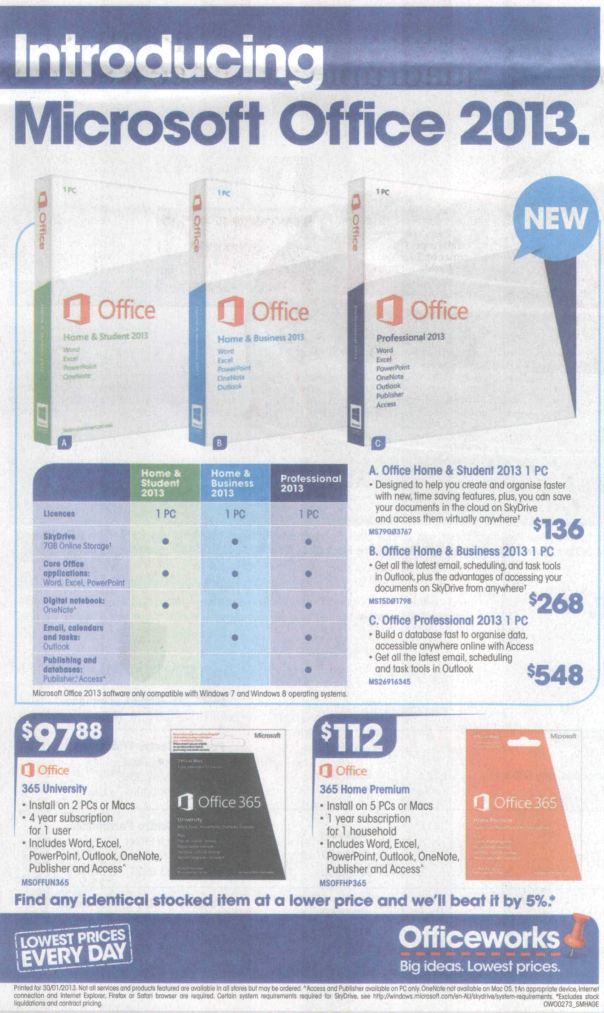 Office 2013 - newspaper ad image from Office 2013 - watching the sales pitch at Office-Watch.com