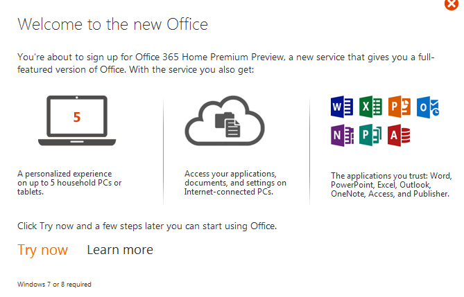 Office 2013 preview web welcome screen image from Office 2013 overview at Office-Watch.com
