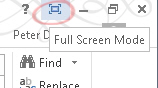 Office 2013 full screen button image from Full Screen View in Office 2013 at Office-Watch.com
