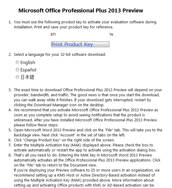 Office 2013 - preview download page image from Getting the Office 2013 Preview at Office-Watch.com