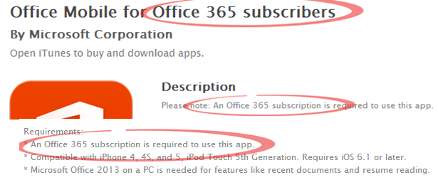Office Mobile for iPhone - qualifications on iTunes web page image from Office for iPhone - not for all subscribers at Office-Watch.com