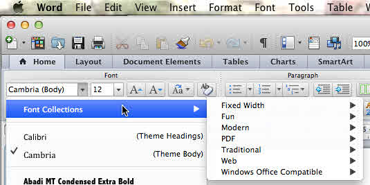 Office for Mac - Windows Office font collection image from Alternatives to font embedding at Office-Watch.com