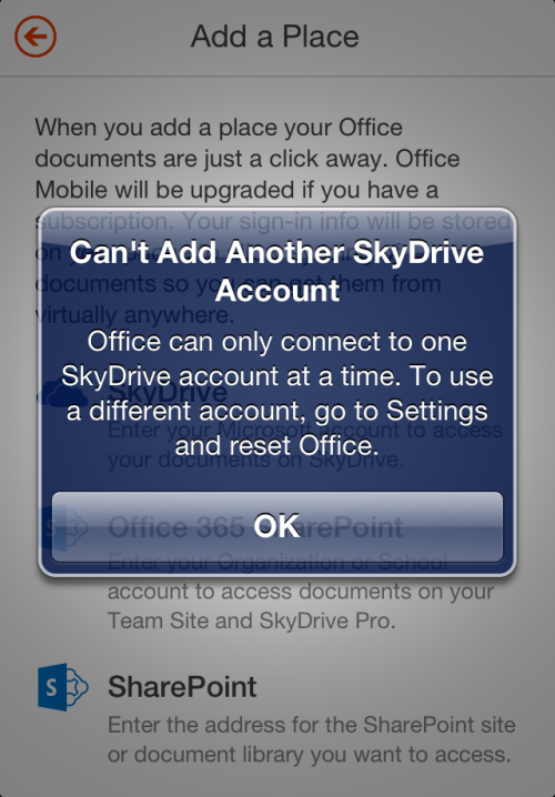Office for iPhone - Cant add another Skydrive account image from Office Mobile, SkyDrive and saving documents at Office-Watch.com