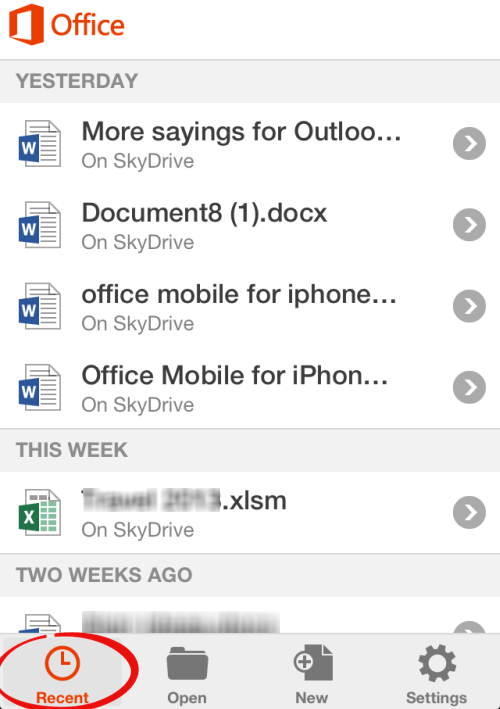 Office%20for%20iPhone%20 %20Recent%20Documents - Office Mobile, SkyDrive and saving documents
