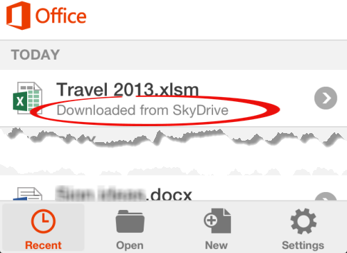 Office%20for%20iPhone%20 %20downloaded%20from%20Skydrive - Office Mobile, SkyDrive and saving documents