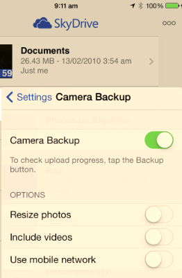 OnDrive iOS Camera Roll Backup image from Skydrive/OneDrive Camera Roll / Camera Backup at Office-Watch.com