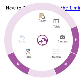 OneNote radial dial image from Peek into a touching Office future at Office-Watch.com