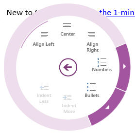 Onenote radial dial bullets image from Peek into a touching Office future at Office-Watch.com