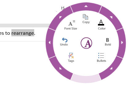 OneNote text formatting dial image from Peek into a touching Office future at Office-Watch.com